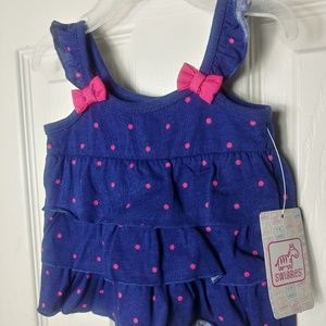 SWIGGLES 0/3 MONTHS BLUE DRESS WITH PINK DOTS